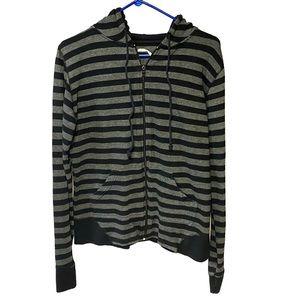 Melissa Zip Up Hoodie Black Striped Sweater Hoody